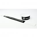 Bracelets en papier noir avec impression blanche
