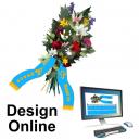 Concevoir des rubans de bouquet en ligne avec texte et logo