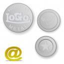 Jetons en aluminium et pièces en relief avec logo et texte